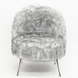 Oryginalny fotel tapicerowany futrem syntetycznym