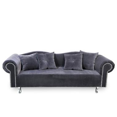 Elegancka, klasyczna sofa w stylu GONDOLA wykonana z pluszu lub veluru