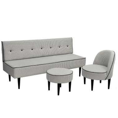 Sofa Danish Wykonana z tkaniny importowanej wzór w pepitkę