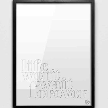 Grafika/ plakat biały z czarnym napisem do nowoczesnego wnętrza-loft, scandi.