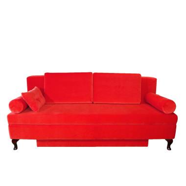 Sofa posiada funkcję spania i pojemnik na pościel.