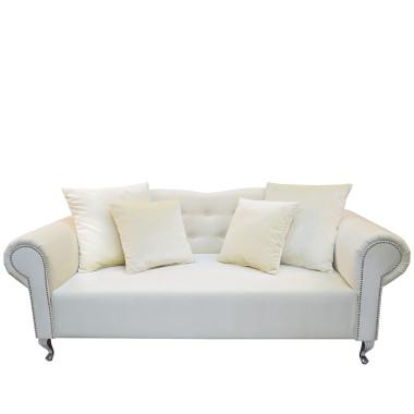 Elegancka, klasyczna sofa w stylu GONDOLA wykonana z PLUSZU DE LUX