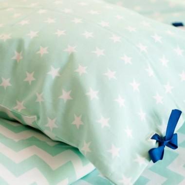 Pastelowa Kolorowa pościel dla dzieci 100% bawełny - miętowy chevron i gwiazdki