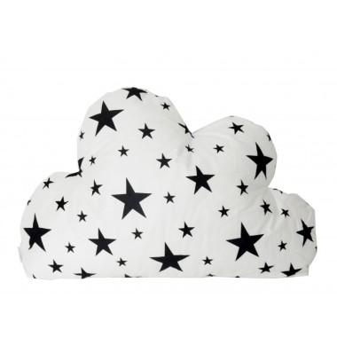 Poduszka chmurka w gwiazdki biało-czarna