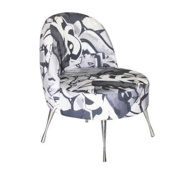 Fotel Grafitti - tapicerowany tkaniną bawełna z lnem.