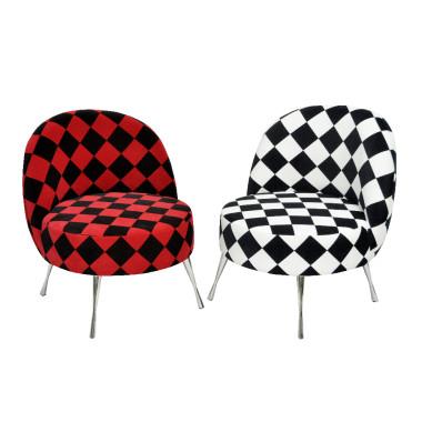 Fotel Arlekino - czarno/biały, czarno/czerwony, tapicerka aksamit, nóżki szpilki chrom