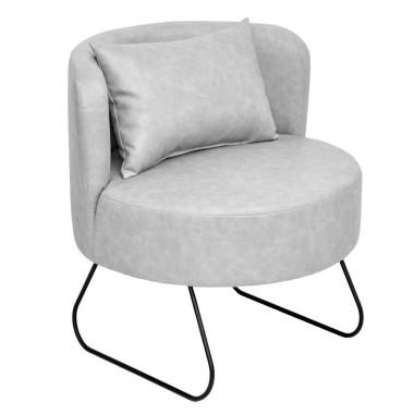Oryginalny fotel na metalowych płozach, inspirowany formą kubełkową foteli z przełomu lat 60/70-tych Obicie skóra ekologiczna importowana w stylu vintage.