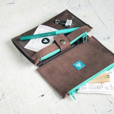 Brązowy skórzany portfel z turkusowym wykończeniem