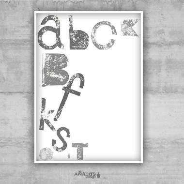 HAPPY LETTERS - GRAY - plakat typograficzny (basic)
