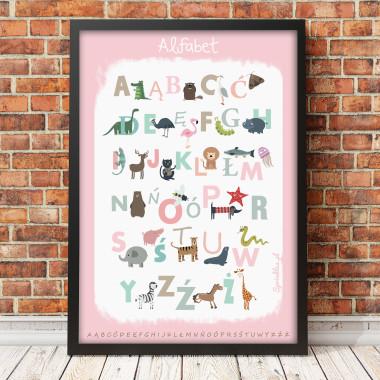 Różowy plakat edukacyjny dla dziecka-alfabet