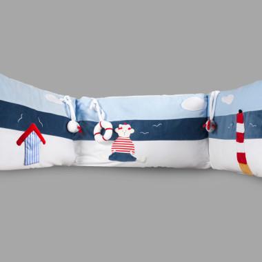 Ochraniacz do łóżeczka dziecięcego. Niebieski w stylu marynarskim.