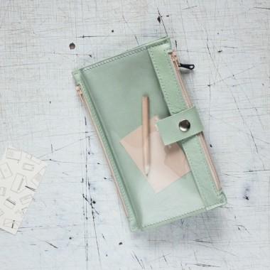Portfel skórzany - Pocket MAXI / Pistachio