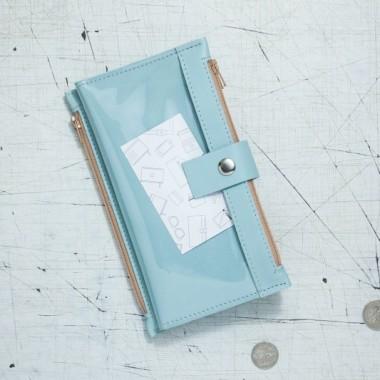 Portfel - Pocket MAXI / Sky Blue -skóra+ folia-wykonany ręcznie