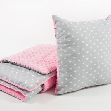 Kocyk dziecięcy minky - różowo-szary,serduszka + poduszka