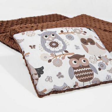 Płaska podusia do wózka - czekoladowe sowy - 23x30 cm