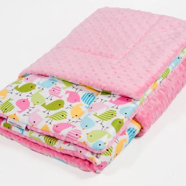 Kocyk dziecięcy minky - różowe ptaszki