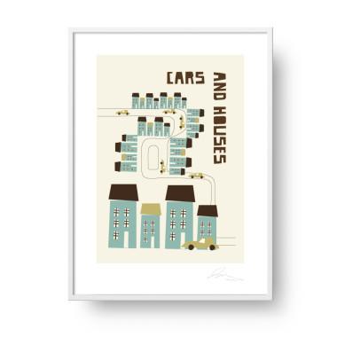 """Przepiękny, unikatowy plakat """"Cars and houses"""". Subtelna, stylowa grafika w stylu skandynawskim doda elegancji i ciepła każdemu wnętrzu. Doskonały pomysł na prezent."""