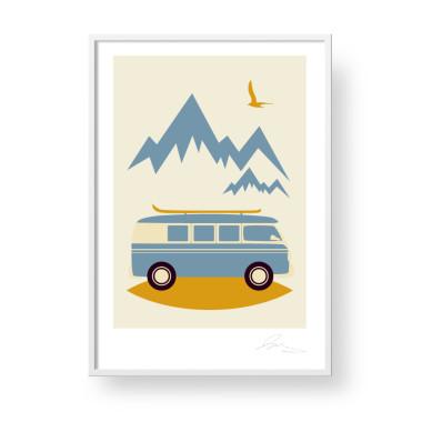 """Przepiękny, unikatowy plakat """"Camper"""". Subtelna, stylowa grafika w stylu skandynawskim doda elegancji i ciepła każdemu wnętrzu. Doskonały pomysł na prezent."""