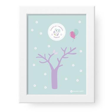 PERSONALIZOWANE Drzewko Życzeń to unikatowy plakat, na którym goście zostawiają pamiątkowy odcisk palca lub podpis. Piękna niepowtarzalna pamiątka, którą można zawiesić na ścianie i ozdobić nią wnętrze. Będzie wzruszać przez długie lata.Wiewiórka i spółka.