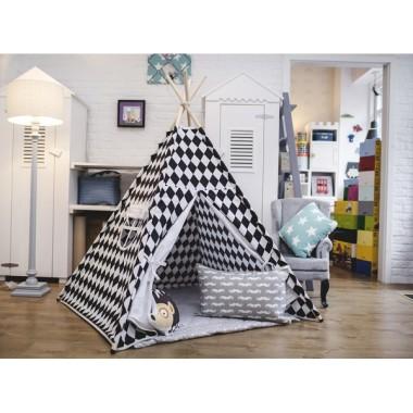 Spontaniczne romby - tipi - namiot dla dziecka czarno-biały.