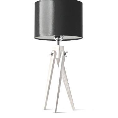 LW16-03-19 Lampa nocna sztalugowa, trójnóg- biało-czarna.
