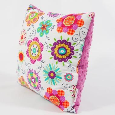 Poduszka/poszewka minky - kwiaty - 40x40 cm
