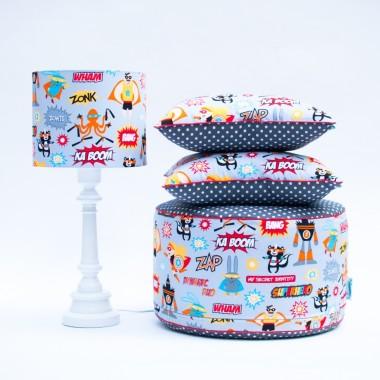 Piękny element dekoracyjny pokoju dziecięcego – puf SUPERBOHATEROWIE