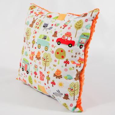 Poduszka/poszewka minky - camping pomarańczowy - 40x40 cm