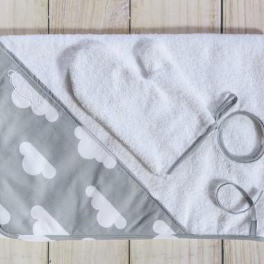 """Ręcznik ułatwiający kąpiel noworodka """"Szara chmurka"""""""