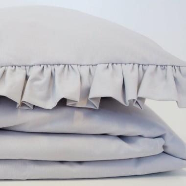 Dziecięca pościel do łóżeczka w kolorze szarym z falbanką