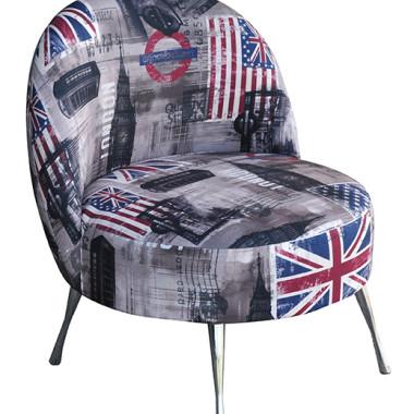 Fotel tapicerowany tkaniną bawełna z lnem. Nogi szpilki chrom (Anglia)