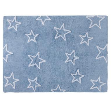 Piękny dywan w kształcie prostokąta z motywem różnej wielkości gwiazdek.
