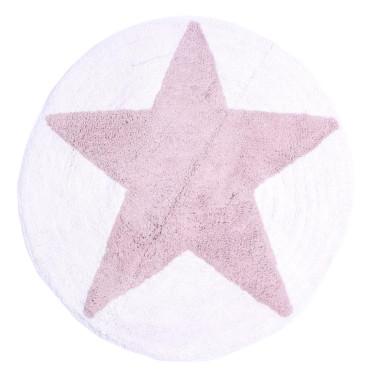 Dywanik łazienkowy z motywem gwiazdy. W kolorze białym z różowo- fioletową gwiazdą.Mia home passion.