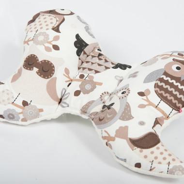 Poduszka antywstrząsowa motylek - Minky&Cotton. Wzór: sowy białe