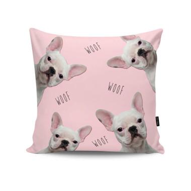 Poduszka dekoracyjna/ jasiek z obustronnym nadrukiem. Zo-Han. French Bulldogs in Pink
