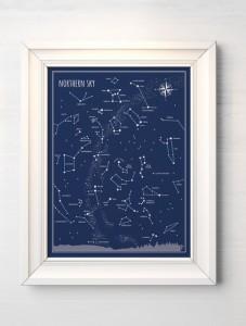 """Plakat """"Niebo północne"""" przedstawia konstelacje widoczne na półkuli północnej Ziemi."""