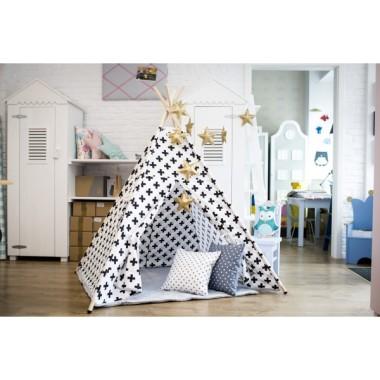 Hałaśliwa biel - tipi - namiot do pokoju dziecka.Biała bawełna w czarne plusy. Teepee.