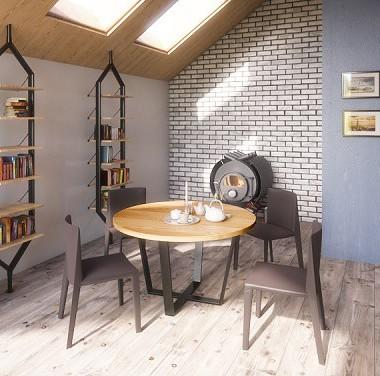 Nowoczesny, elegancki i ponadczasowy stół do jadalni z blatem wykonanym z litego dębu. Mebel idealny do niedużych wnętrz, w których nie ma miejsca na stół kwadratowy lub prostokątny