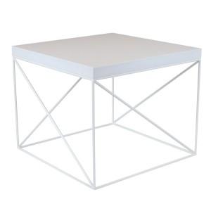 OSLO to nieduży kwadratowy stolik kawowy o geometrycznej, minimalistycznej formie. Mebel dostępny jest w kolorze białym lub czarnym.