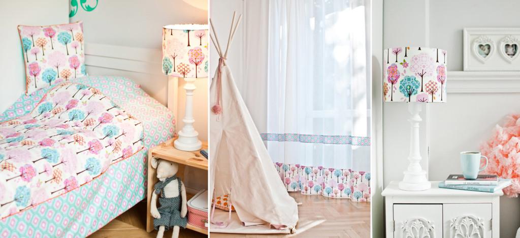Pokój dziewczynki - kolorowe, bajkowe lampy w kolorach różowy, niebieski