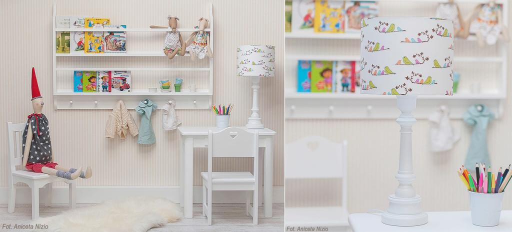 Elegancka biała lampka nocna do pokoju dziecięcego w kolorowe ptaszki