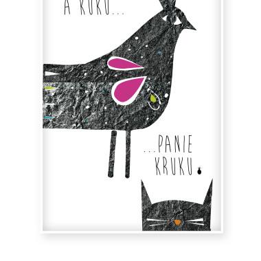 Czarno-biały plakat z ptakiem- ilustracja.