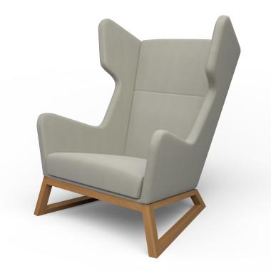 Duży fotel szary z wygodnym siedziskiem i szerokim, oryginalnym oparciem.Melyo