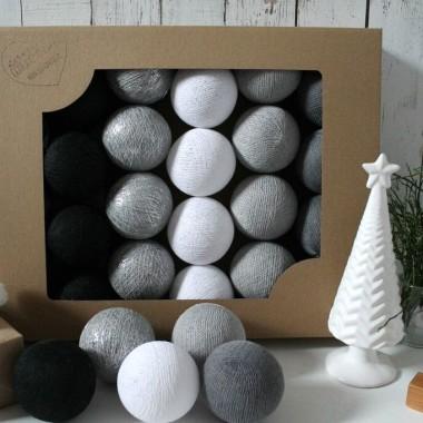 Cotton Balls. Zestaw 10 światełek zamkniętych w uroczych kulach. Fajna ozdoba do pokoju dziecka lub na balkon.