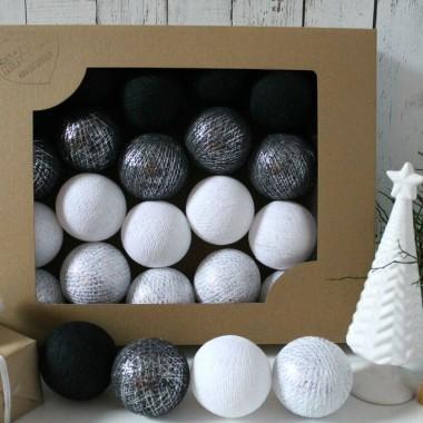 Cotton Balls. Zestaw 10 światełek zamkniętych w uroczych kulach. Fajna ozdoba do pokoju dziecka lub na balkon.Srebrne.