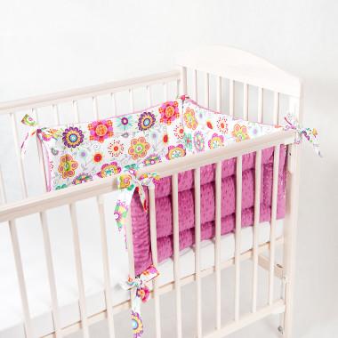Trzyczęściowy, dwustronny ochraniacz do łóżeczka dziecięcego. Minky+bawełna.Różowy.
