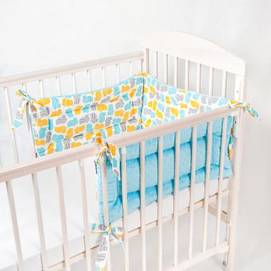 Trzyczęściowy, dwustronny ochraniacz do łóżeczka dziecięcego. Minky+bawełna.Niebieski.