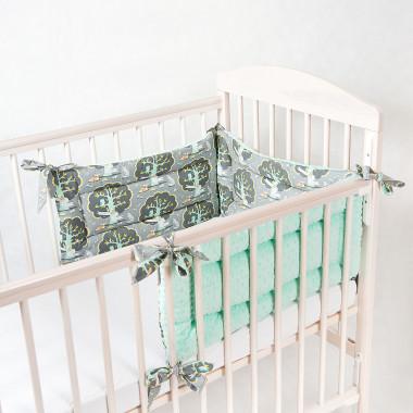 Trzyczęściowy, dwustronny ochraniacz do łóżeczka dziecięcego. Minky+bawełna.Las- zielony