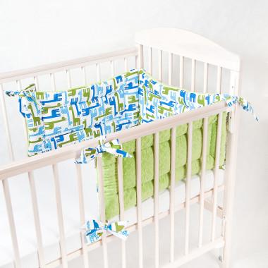 Trzyczęściowy, dwustronny ochraniacz do łóżeczka dziecięcego. Minky+bawełna.Żyrafki- zielony