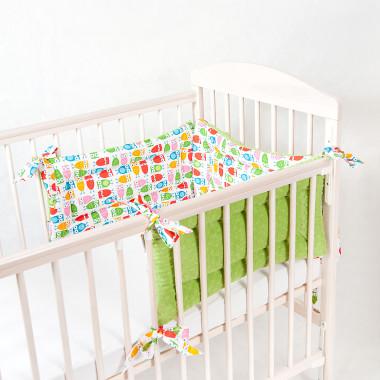 Trzyczęściowy, dwustronny ochraniacz do łóżeczka dziecięcego. Minky+bawełna.Sówki - zielony